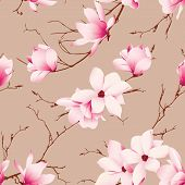 image of japanese magnolia  - Almond magnolia flowers seamless vector pattern - JPG