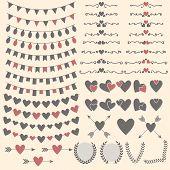 picture of laurel  - Wedding set of hearts arrows garlands laurel wreaths and labels - JPG