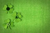 foto of saint patrick  - St Patricks Day green burlap background with paper shamrock border - JPG