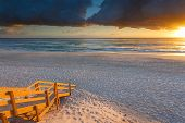 picture of mermaid  - Australian beach entry with stairs in foreground at sunrise  - JPG