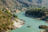 pic of gang  - Rishikesh valley in the Indian state of Uttarakhand with the Ganges river flowing through it - JPG