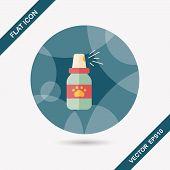 picture of flea  - Pet Flea Sprays Flat Icon Wtih Long Shadow - JPG