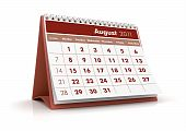 foto of august calendar  - 3D Render desktop calendar in white background - JPG