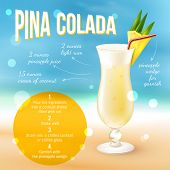 foto of pina-colada  - Pina colada cocktail recipe poster with drink in glass and indredients list vector illustration - JPG