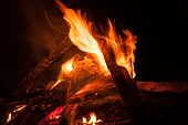 image of bonfire  - Camping Bonfire with sparks at night time - JPG