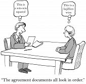 picture of negotiating  - Cartoon of two businesspeople in contract negotiations - JPG