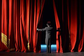 picture of curtains stage  - curtain in the theater with the actor on the stage  - JPG