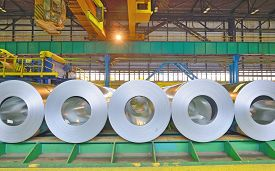 picture of coil  - rolls of steel sheet stored in warehouse - JPG