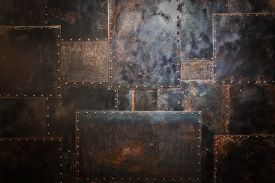 image of rusty-spotted  - Scratched and spotted a rusty metal background - JPG