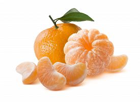 stock photo of mandarin orange  - Whole orange mandarins peeled and unpeeled isolated on white background as package design element - JPG