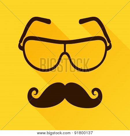 Vector Sunglasses Icon with mustaches