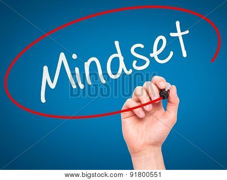 Man Hand writing Mindset with marker on transparent wipe board.