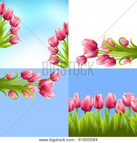 Tulip bouquets set