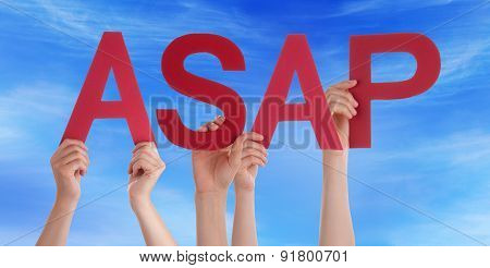 Hands Holding Red Straight Word Asap Blue Sky