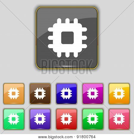 Central Processing Unit Icon Sign. Set With Eleven Colored Buttons For Your Site. Vector