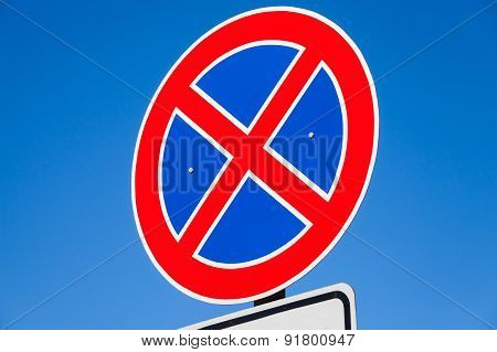 Round Road Sign, Standing Is Prohibited