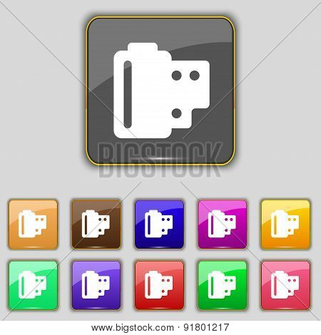 35 Mm Negative Films Icon Sign. Set With Eleven Colored Buttons For Your Site. Vector