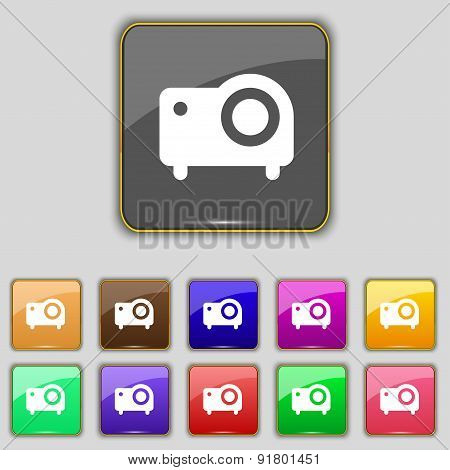 Projector Icon Sign. Set With Eleven Colored Buttons For Your Site. Vector