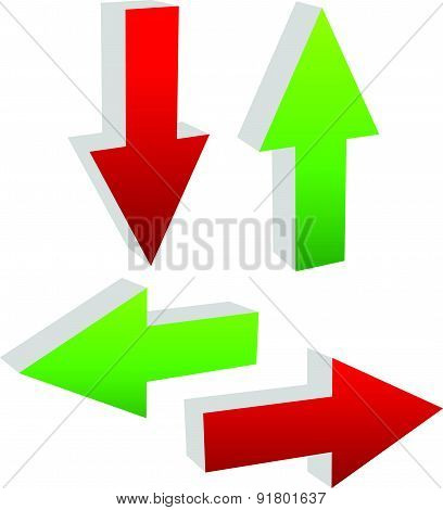 3D Green And Red Arrows Pointing To Different Directions. Up, Down, Left And Right Arrows Vector Ill