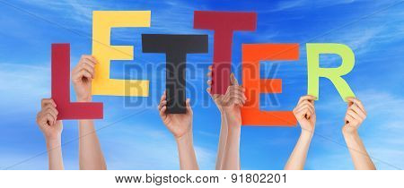 People Hands Holding Colorful Word Letter Blue Sky
