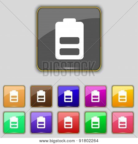 Battery Half Level, Low Electricity Icon Sign. Set With Eleven Colored Buttons For Your Site. Vector