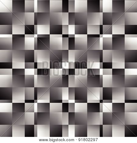 Grayscale Abstract Square Pattern. Seamlessly Repeatable Vector Texture.