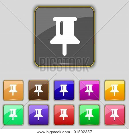 Map Pointer, Gps Location Icon Sign. Set With Eleven Colored Buttons For Your Site. Vector