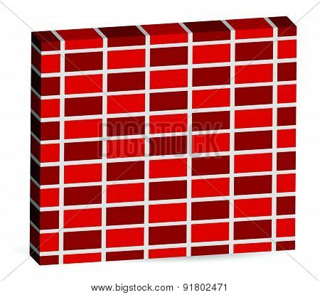3D Brick Wall Pattern Isolated On White With Alternating Bricks. Editable Vector.