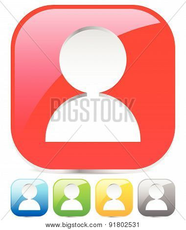 Character, User Icon With Various Colors Included