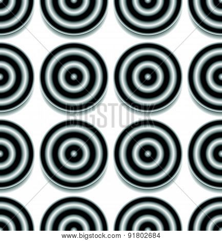 Repeatable Pattern With Circles With Gradient Fills. Contrasty, Abstract Background.