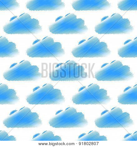 Sketchy (doodle) Cloud Pattern With Round, Cumulus Clouds. Seamlessly Repeatable.
