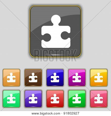 Puzzle Piece Icon Sign. Set With Eleven Colored Buttons For Your Site. Vector