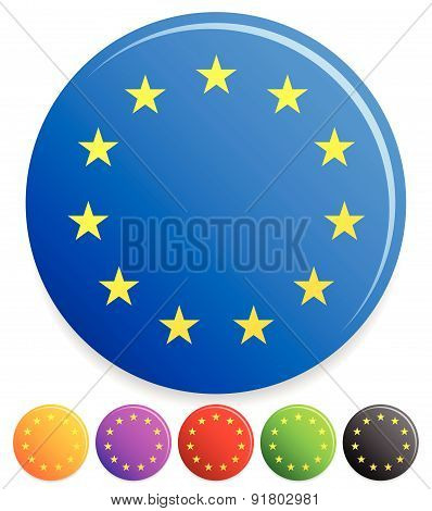 12 Stars In Circle For Award, Prize Or Certification Concepts. (official European Union Flag With Tw