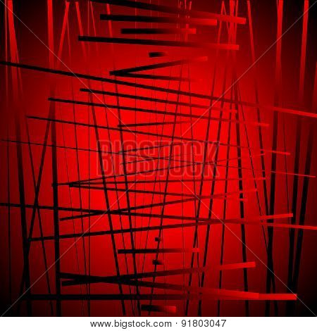 Abstract Contemporary Art Made Of Random Lines. Vector. (red Version)