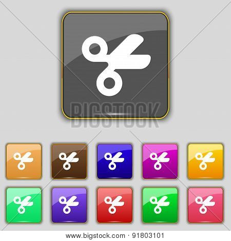 Scissors Hairdresser, Tailor Icon Sign. Set With Eleven Colored Buttons For Your Site. Vector
