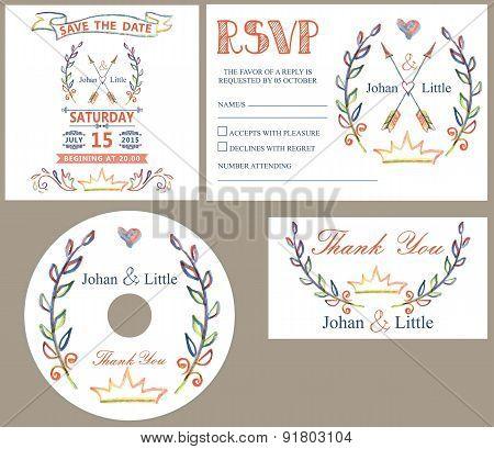 Vintage wedding design template se.Colored doodles decor
