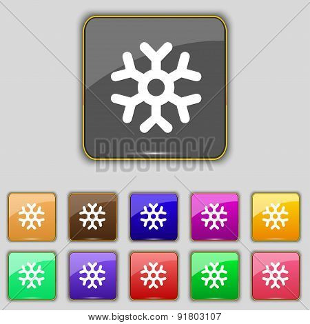 Snowflake Icon Sign. Set With Eleven Colored Buttons For Your Site. Vector