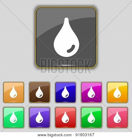 Water Drop Icon Sign. Set With Eleven Colored Buttons For Your Site. Vector