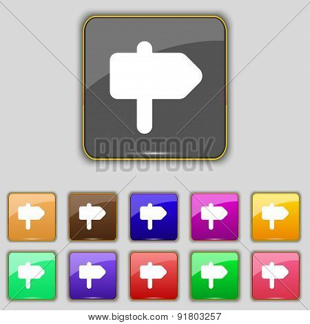 Information Road Icon Sign. Set With Eleven Colored Buttons For Your Site. Vector