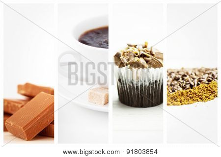 Chocolate pieces piled together against waffles sugar and a cup of coffee on white plate