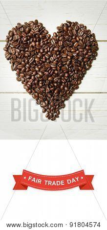 Fair Trade graphic against coffee beans