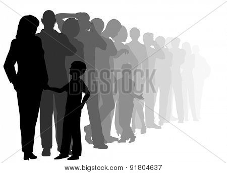 EPS8 editable vector cutout illustration of a long queue of people waiting patiently with all figures as separate objects