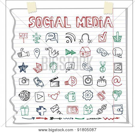 Social Media Icon and word.Doodle sketchy Notepaper