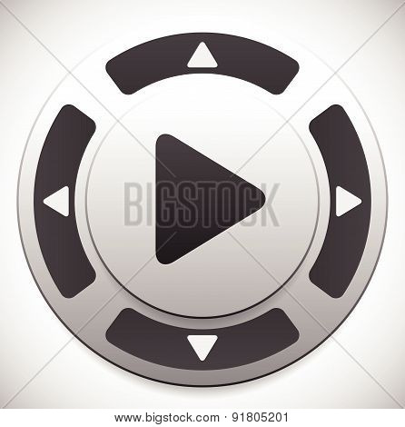 Control Button Template With Play Button At Center.