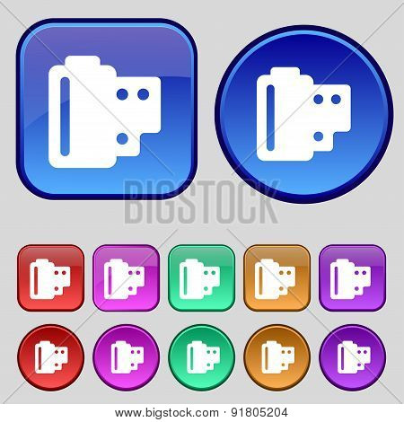 35 Mm Negative Films Icon Sign. A Set Of Twelve Vintage Buttons For Your Design. Vector