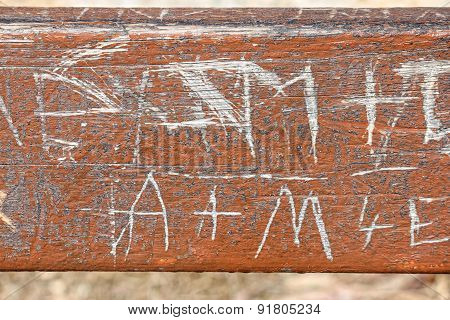 Vandalism Carved In Wood