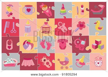 Newborn Baby girl icons set.Baby shower puzzle
