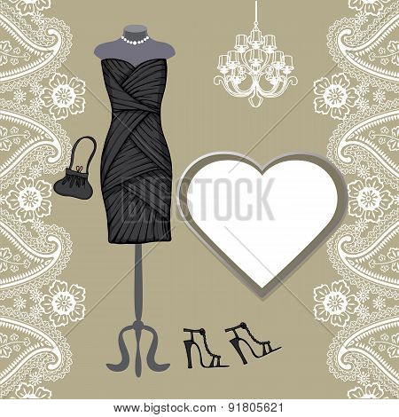 Little black dresses ,chandelier,paisley border