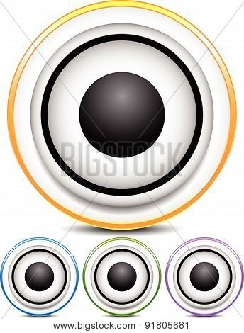 Graphics With Loudspeaker For Music, Audio Or Multimedia Concepts. Vector.