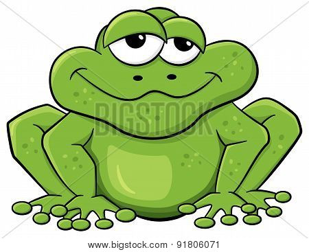 Green Cartoon Frog Isolated On White